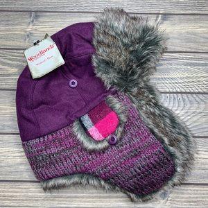 Woodlands Isotoner Women's Trapper Hat Purple Gray